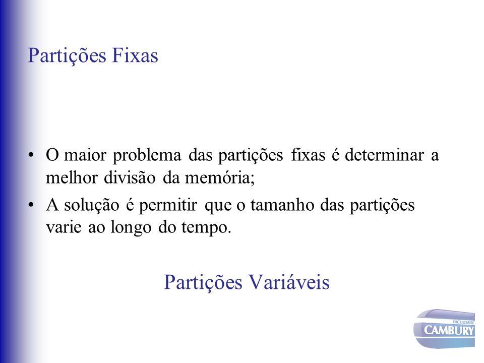 Partições Fixas O maior problema das partições fixas é determinar a melhor divisão da memória; A solução é permitir que o tamanho das partições varie