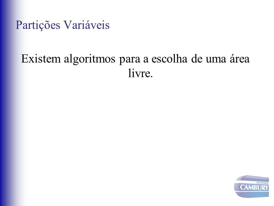 Partições Variáveis Existem algoritmos para a escolha de uma área livre.