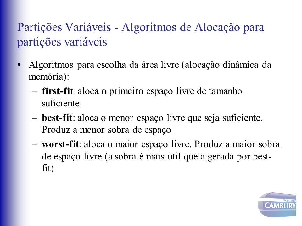 Partições Variáveis - Algoritmos de Alocação para partições variáveis Algoritmos para escolha da área livre (alocação dinâmica da memória): –first-fit