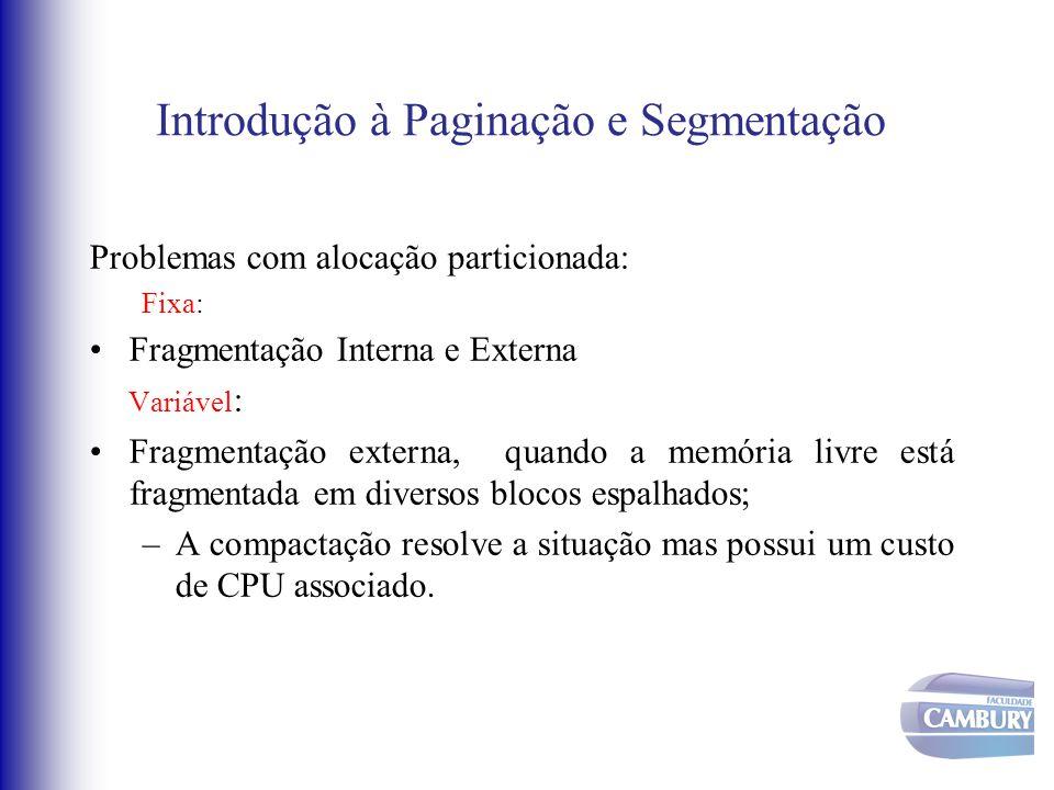 Introdução à Paginação e Segmentação Problemas com alocação particionada: Fixa: Fragmentação Interna e Externa Variável : Fragmentação externa, quando