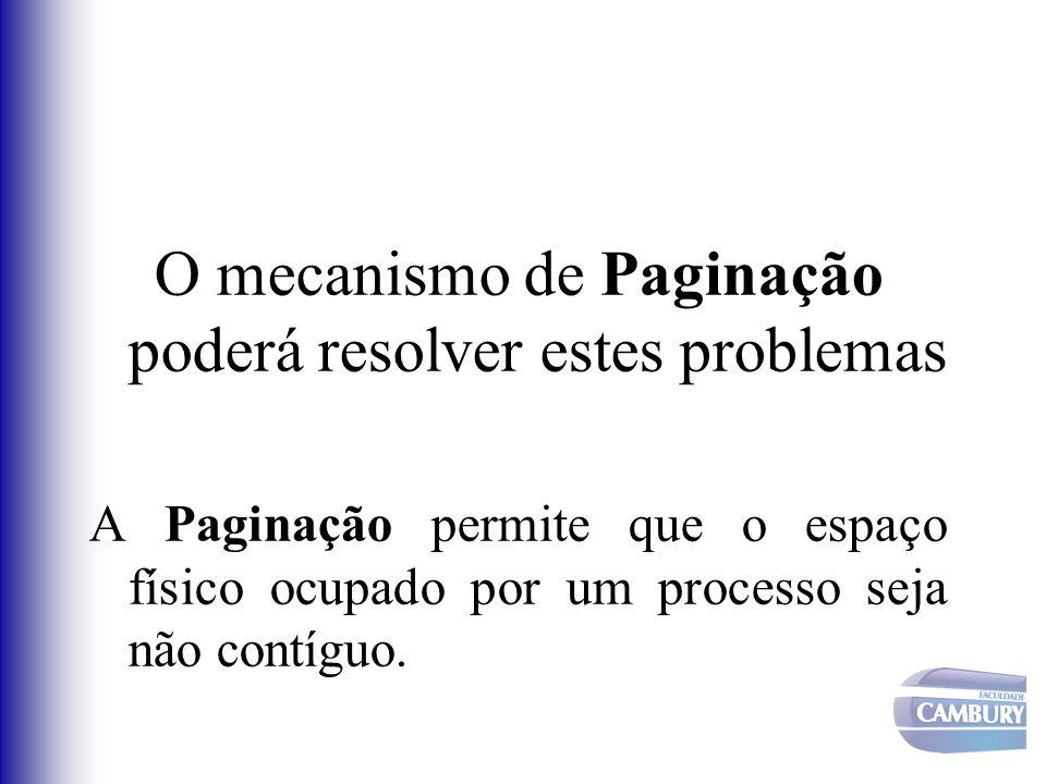 O mecanismo de Paginação poderá resolver estes problemas A Paginação permite que o espaço físico ocupado por um processo seja não contíguo.