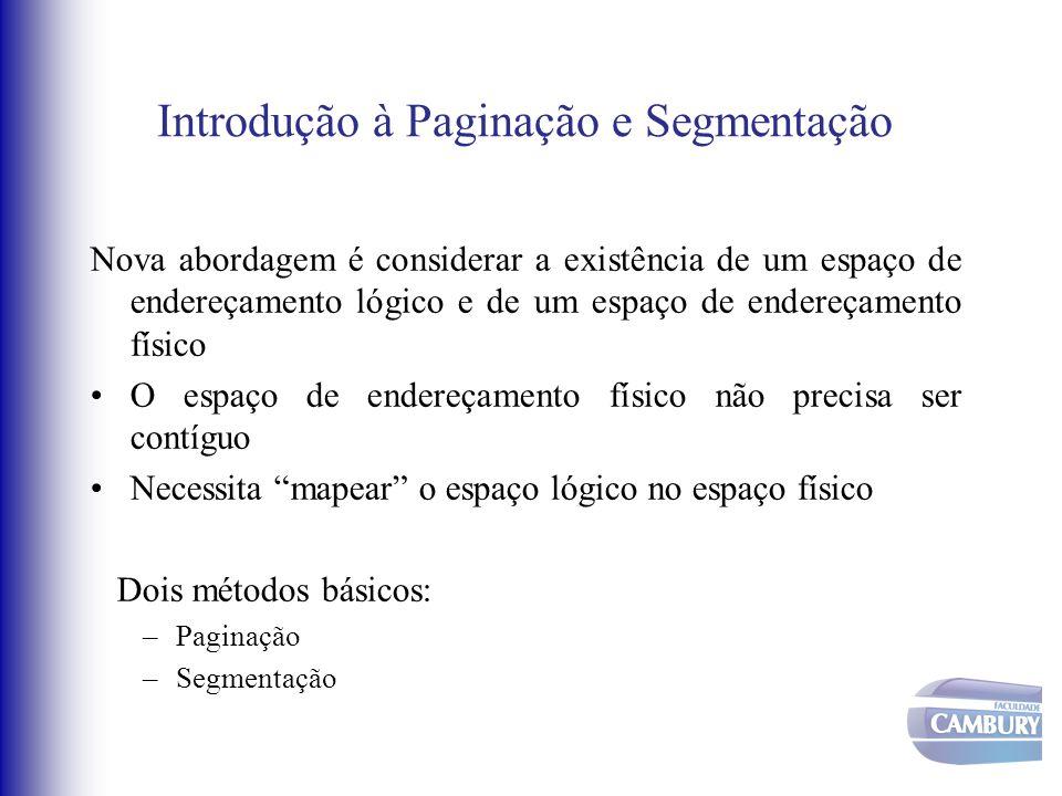 Introdução à Paginação e Segmentação Nova abordagem é considerar a existência de um espaço de endereçamento lógico e de um espaço de endereçamento fís