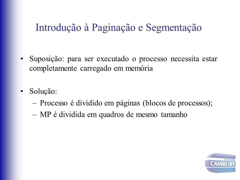 Introdução à Paginação e Segmentação Suposição: para ser executado o processo necessita estar completamente carregado em memória Solução: –Processo é