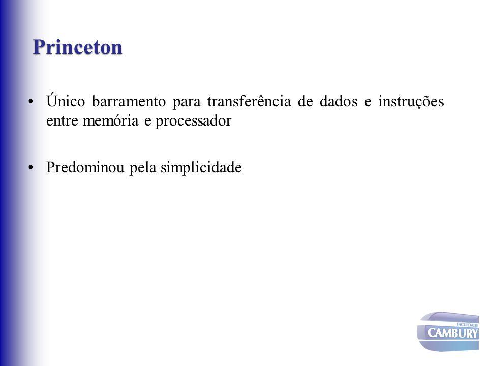 Princeton Princeton Único barramento para transferência de dados e instruções entre memória e processador Predominou pela simplicidade