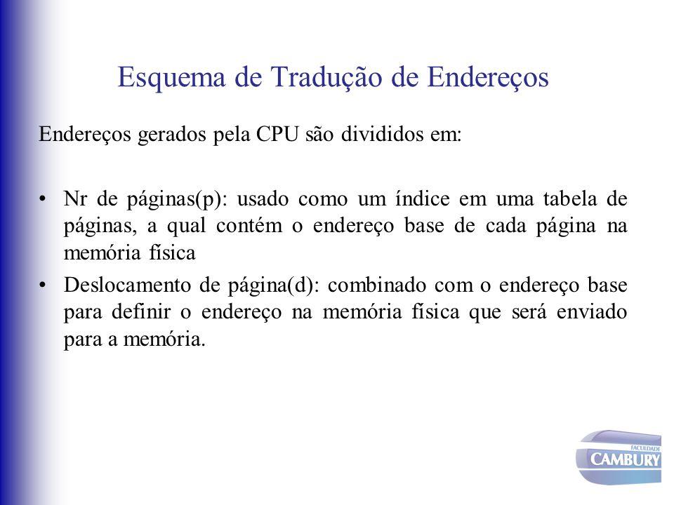 Esquema de Tradução de Endereços Endereços gerados pela CPU são divididos em: Nr de páginas(p): usado como um índice em uma tabela de páginas, a qual
