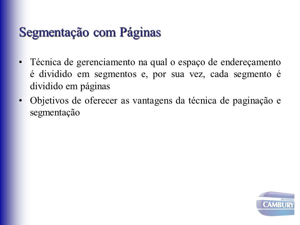 Segmentação com Páginas Técnica de gerenciamento na qual o espaço de endereçamento é dividido em segmentos e, por sua vez, cada segmento é dividido em