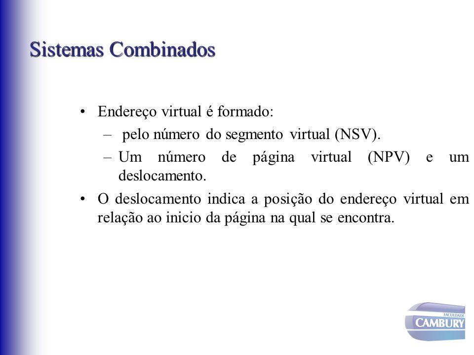 Sistemas Combinados Endereço virtual é formado: – pelo número do segmento virtual (NSV). –Um número de página virtual (NPV) e um deslocamento. O deslo
