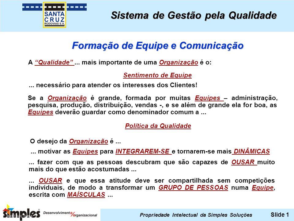 Propriedade Intelectual da Simples Soluções Slide 1 Sistema de Gestão pela Qualidade Formação de Equipe e Comunicação A Qualidade...