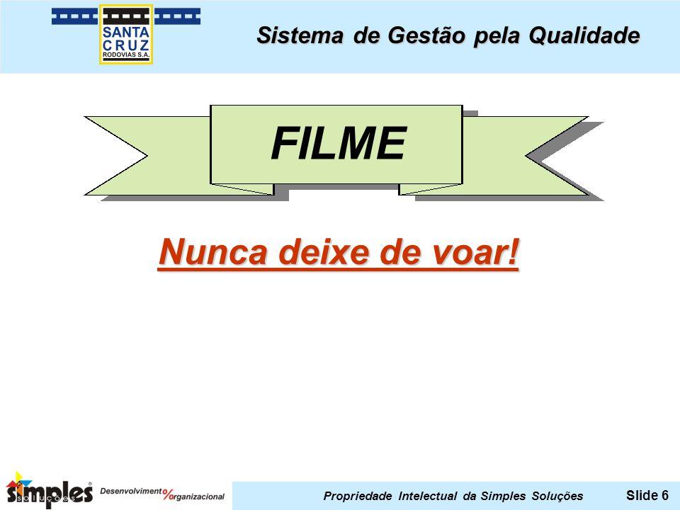 Propriedade Intelectual da Simples Soluções Slide 6 Sistema de Gestão pela Qualidade FILME Nunca deixe de voar.