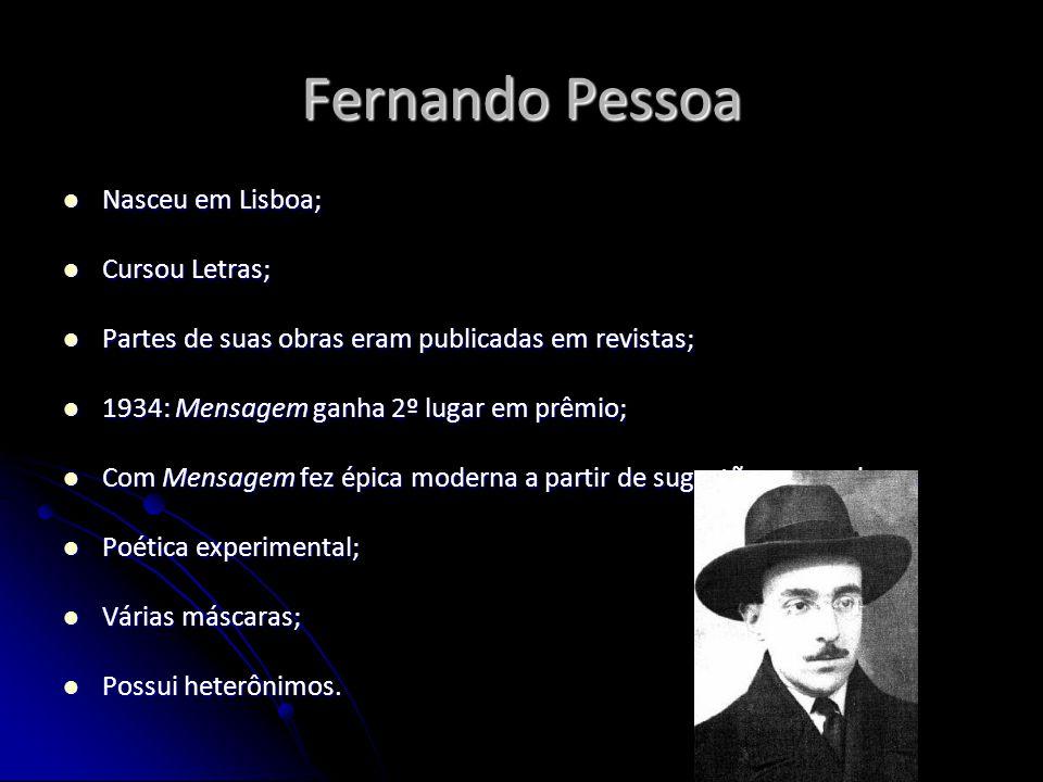 Fernando Pessoa Nasceu em Lisboa; Nasceu em Lisboa; Cursou Letras; Cursou Letras; Partes de suas obras eram publicadas em revistas; Partes de suas obr