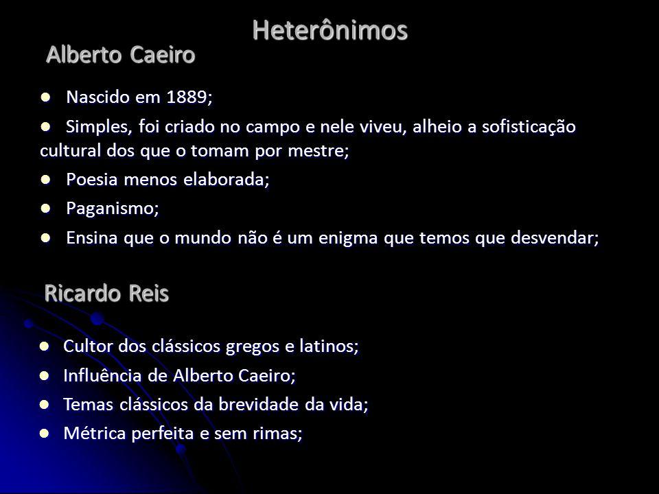 Heterônimos Nascido em 1889; Nascido em 1889; Simples, foi criado no campo e nele viveu, alheio a sofisticação cultural dos que o tomam por mestre; Si