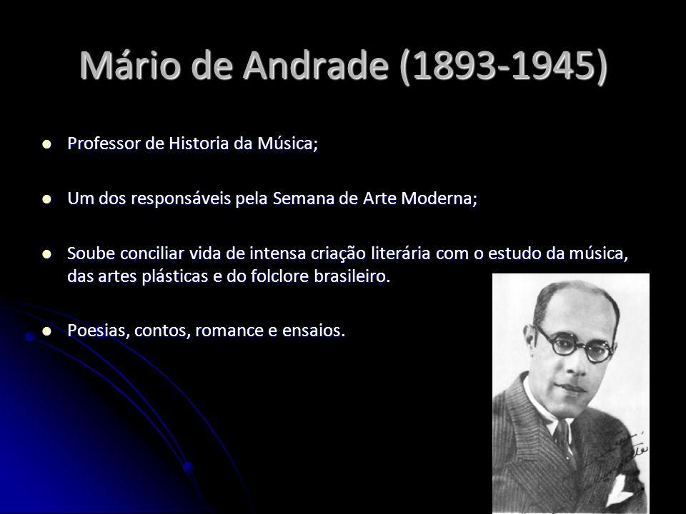 Mário de Andrade (1893-1945) Professor de Historia da Música; Professor de Historia da Música; Um dos responsáveis pela Semana de Arte Moderna; Um dos