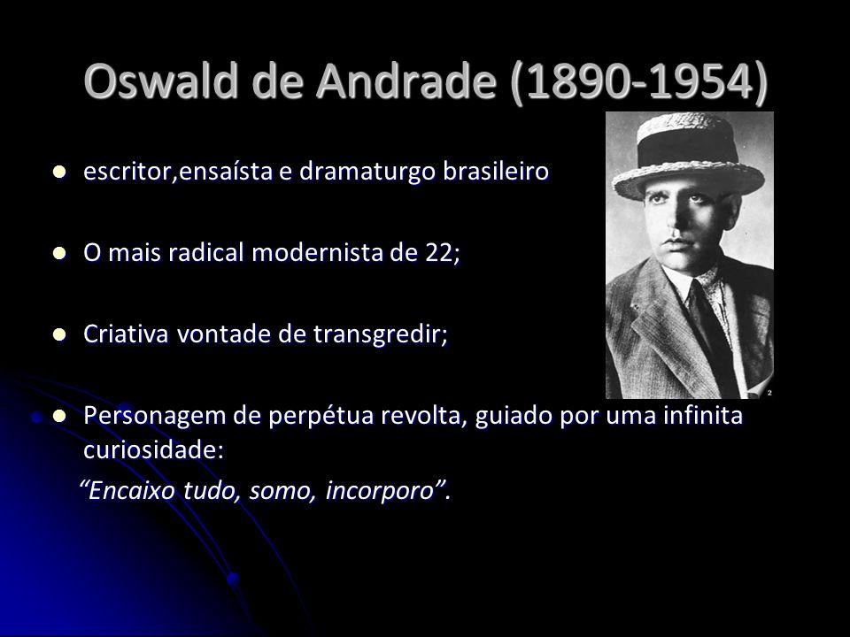 Oswald de Andrade (1890-1954) escritor,ensaísta e dramaturgo brasileiro escritor,ensaísta e dramaturgo brasileiro O mais radical modernista de 22; O m