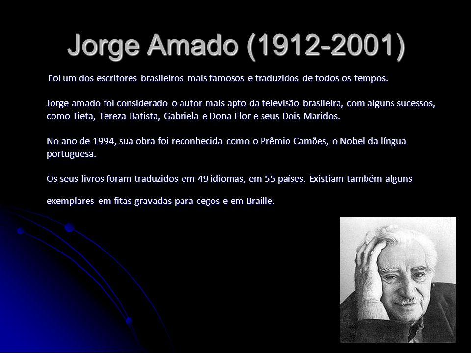 Jorge Amado (1912-2001) Foi um dos escritores brasileiros mais famosos e traduzidos de todos os tempos. Jorge amado foi considerado o autor mais apto