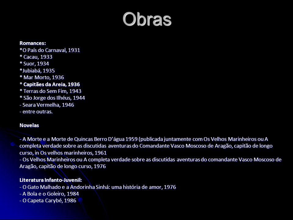 Obras Romances: *O País do Carnaval, 1931 * Cacau, 1933 * Suor, 1934 *Jubiabá, 1935 * Mar Morto, 1936 * Capitães da Areia, 1936 * Terras do Sem Fim, 1