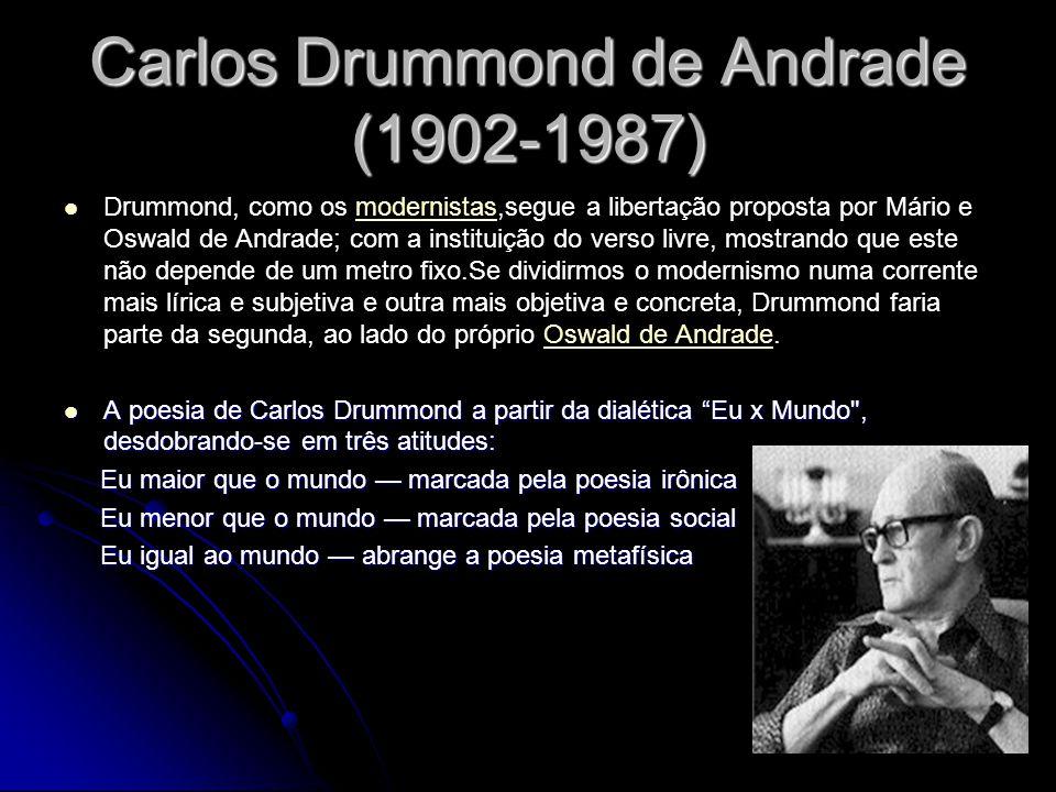 Carlos Drummond de Andrade (1902-1987) Drummond, como os modernistas,segue a libertação proposta por Mário e Oswald de Andrade; com a instituição do v