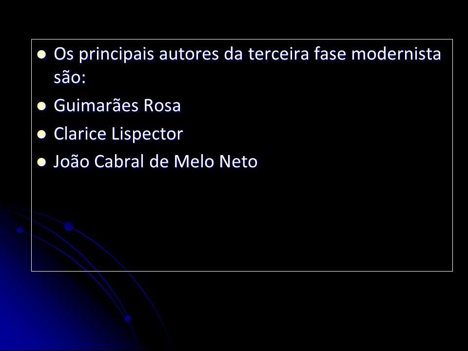 Os principais autores da terceira fase modernista são: Os principais autores da terceira fase modernista são: Guimarães Rosa Guimarães Rosa Clarice Li