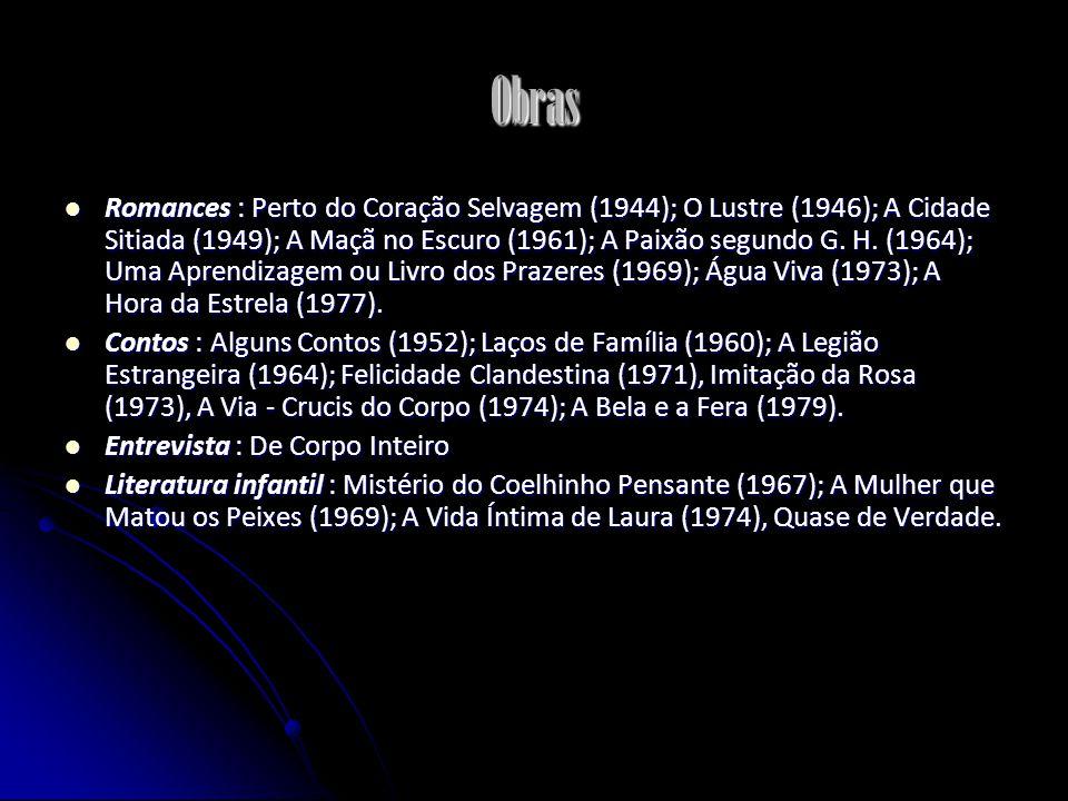 Obras Romances : Perto do Coração Selvagem (1944); O Lustre (1946); A Cidade Sitiada (1949); A Maçã no Escuro (1961); A Paixão segundo G. H. (1964); U
