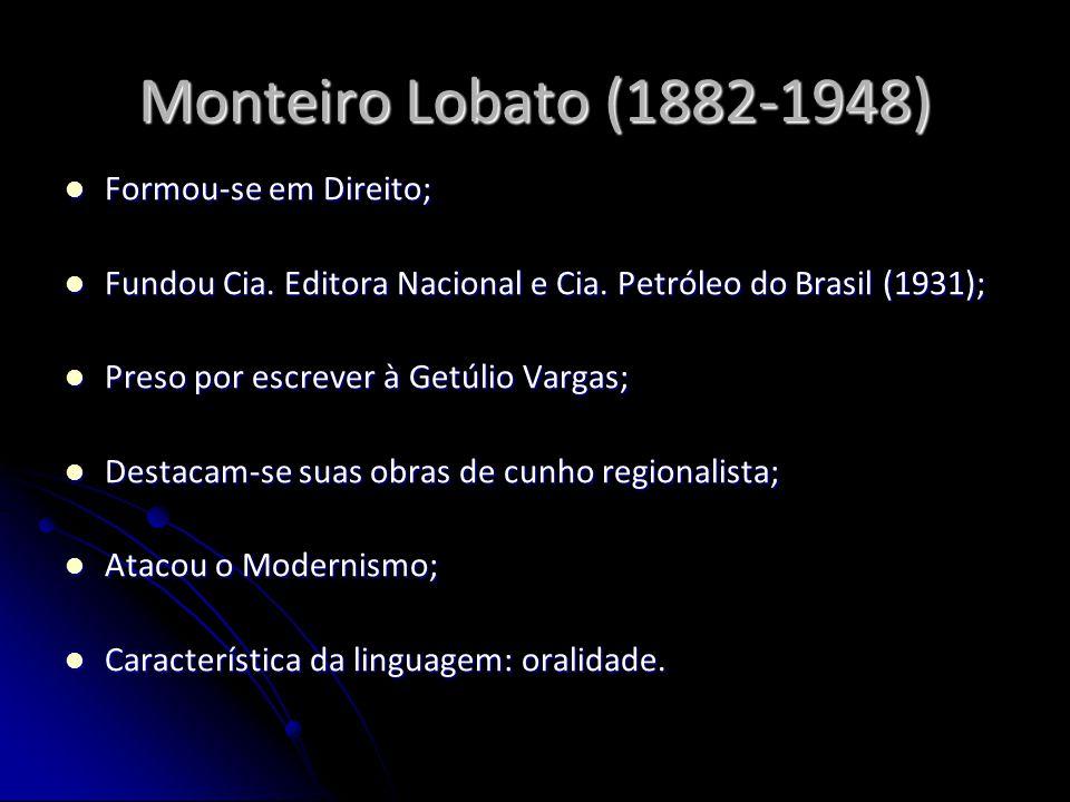 Monteiro Lobato (1882-1948) Formou-se em Direito; Formou-se em Direito; Fundou Cia. Editora Nacional e Cia. Petróleo do Brasil (1931); Fundou Cia. Edi