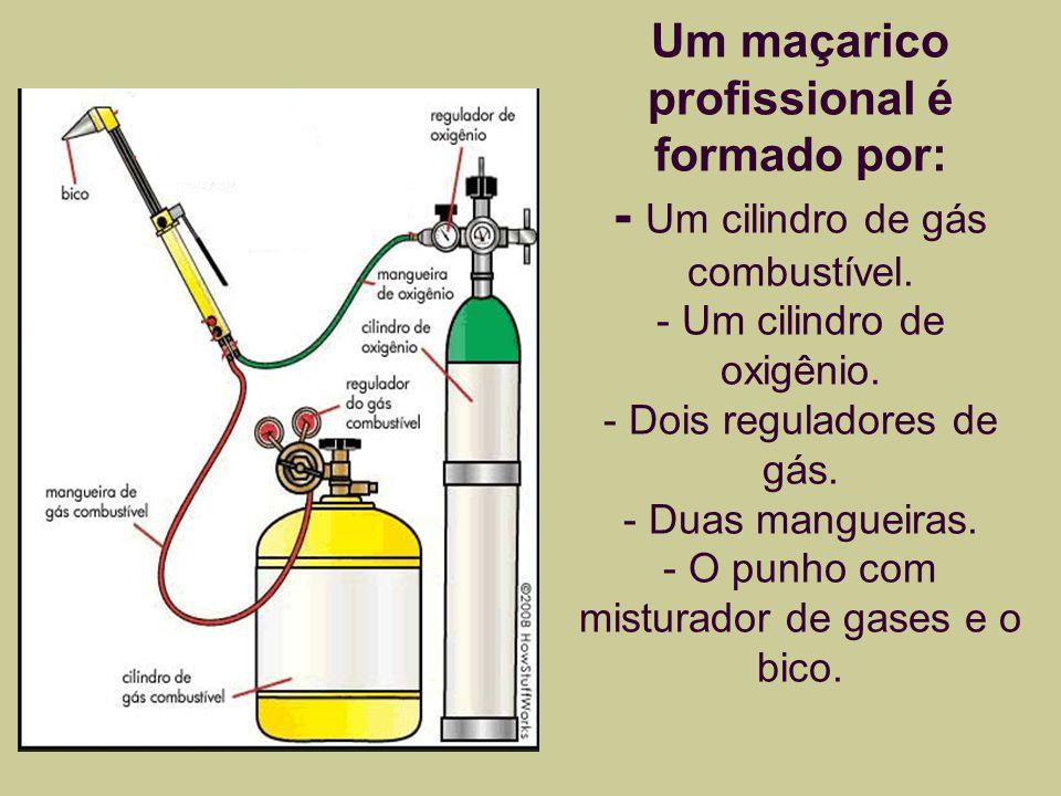 Componentes do maçarico Os reguladores, localizados na cabeça do cilindro, controlam a pressão e o fluxo de gás.