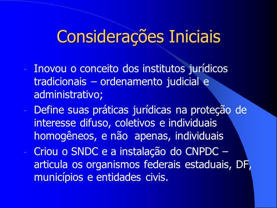 Considerações Iniciais Lei n. 8.078 – considerada uma das mais avançadas legislações de defesa do consumidor do mundo: - Lei de ordem pública e intere