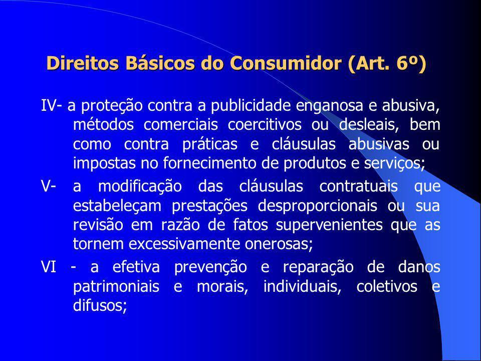 Direitos Básicos do Consumidor (Art. 6º) I - a proteção da vida, saúde e segurança contra os riscos provocados por práticas no fornecimento de produto