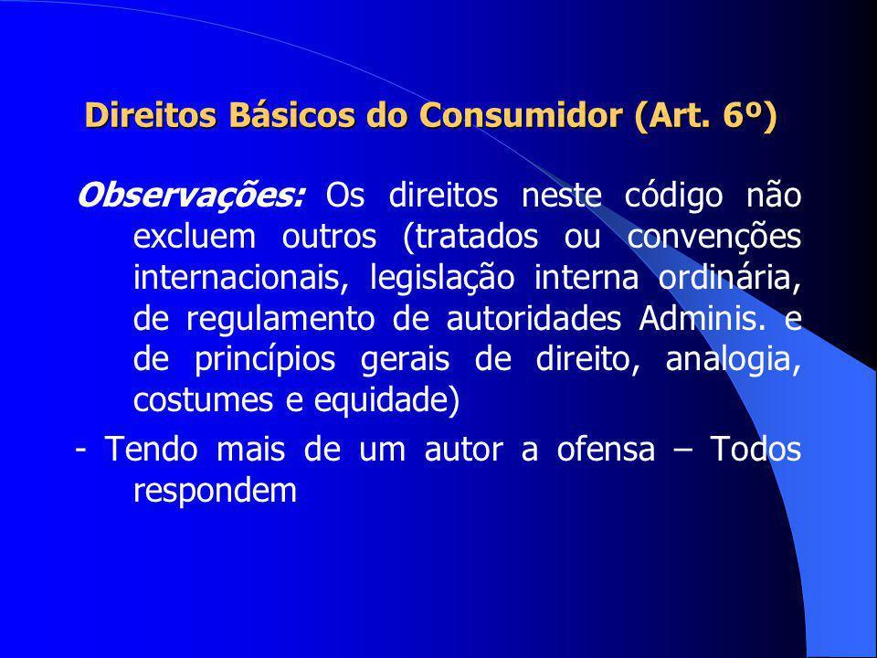 Direitos Básicos do Consumidor (Art. 6º) VII - o acesso aos órgãos judiciários e administrativos com vistas à prevenção ou reparação de danos patrimon