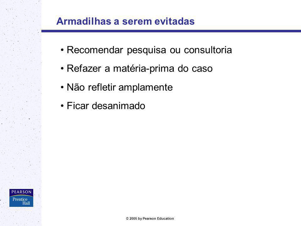 © 2005 by Pearson Education Armadilhas a serem evitadas Recomendar pesquisa ou consultoria Refazer a matéria-prima do caso Não refletir amplamente Fic