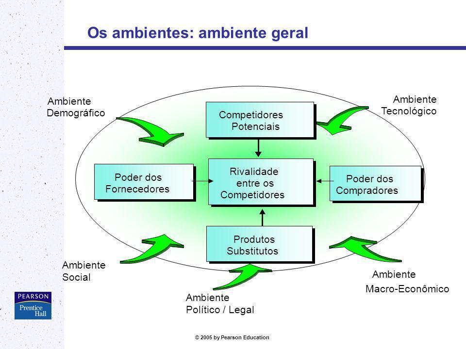 © 2005 by Pearson Education Os ambientes: ambiente geral Ambiente Demográfico Ambiente Social Ambiente Tecnológico Ambiente Macro-Econômico Competidor