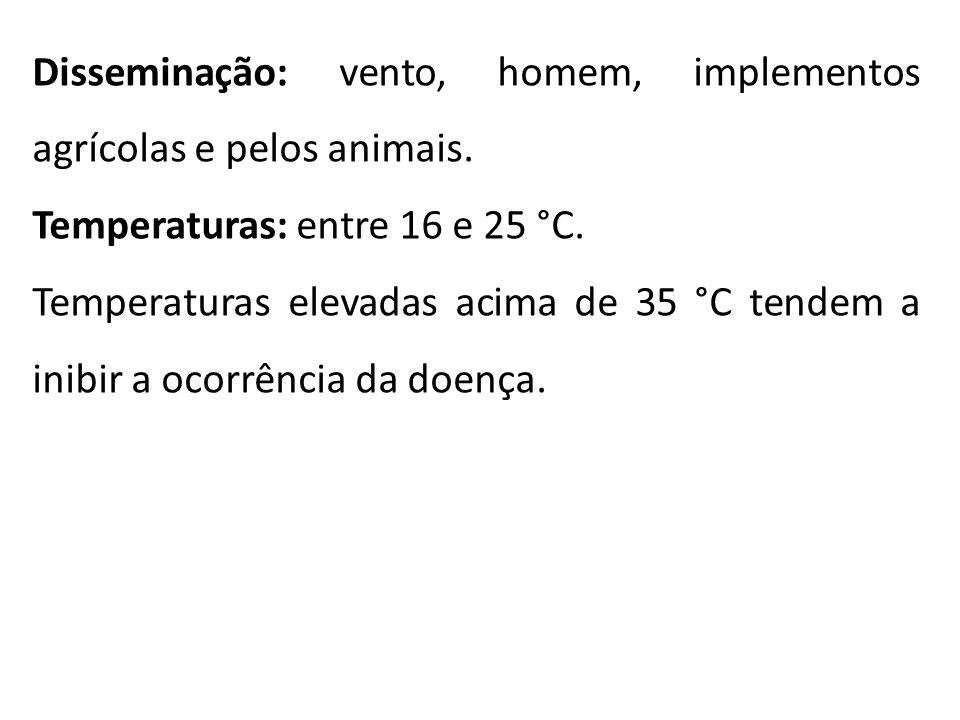 Disseminação: vento, homem, implementos agrícolas e pelos animais. Temperaturas: entre 16 e 25 °C. Temperaturas elevadas acima de 35 °C tendem a inibi