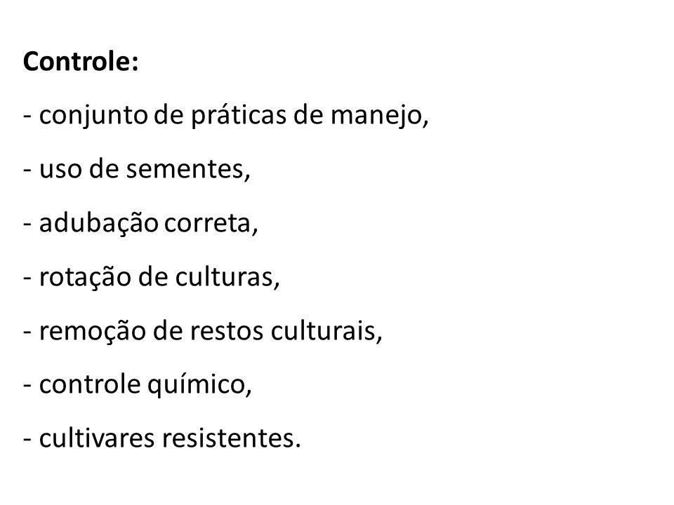 Controle: - conjunto de práticas de manejo, - uso de sementes, - adubação correta, - rotação de culturas, - remoção de restos culturais, - controle qu
