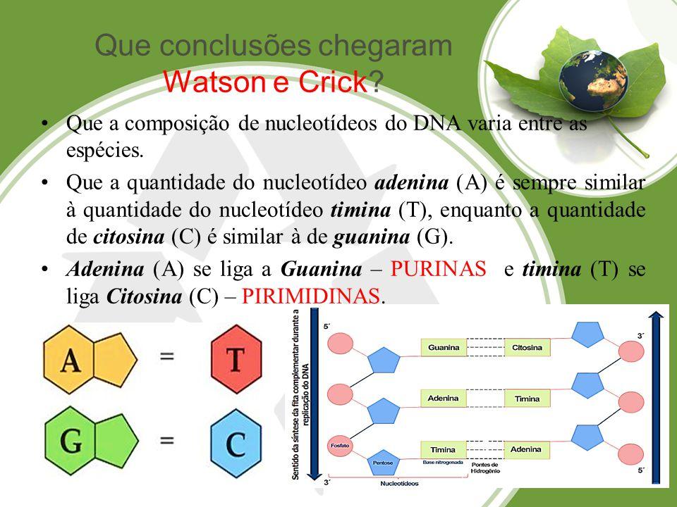 Que a composição dos nucleotídeos do DNA varia entre as espécies.