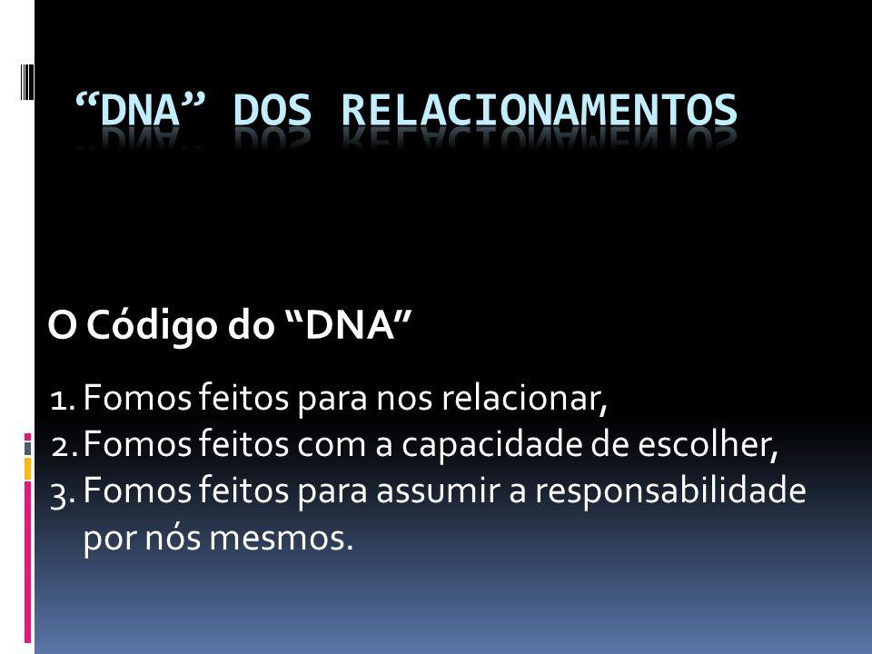 O Código do DNA 1.Fomos feitos para nos relacionar, 2.Fomos feitos com a capacidade de escolher, 3.Fomos feitos para assumir a responsabilidade por nós mesmos.