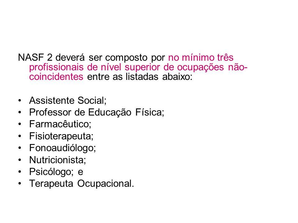 NASF 2 deverá ser composto por no mínimo três profissionais de nível superior de ocupações não- coincidentes entre as listadas abaixo: Assistente Social; Professor de Educação Física; Farmacêutico; Fisioterapeuta; Fonoaudiólogo; Nutricionista; Psicólogo; e Terapeuta Ocupacional.