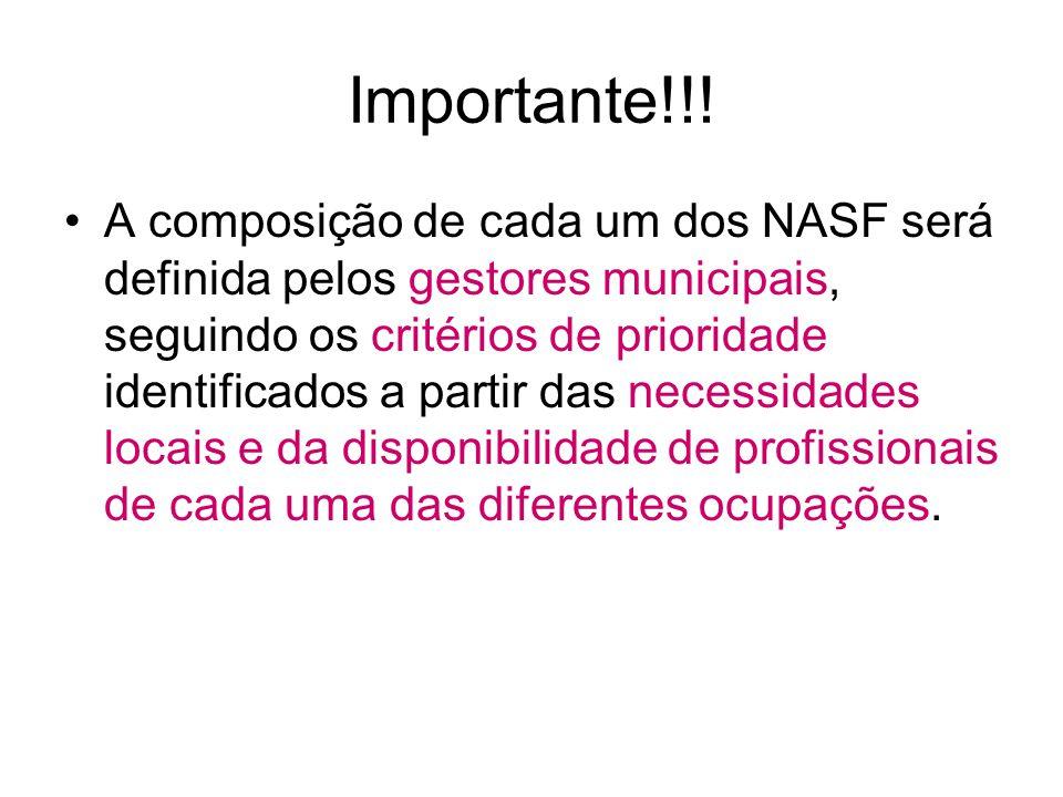 Importante!!! A composição de cada um dos NASF será definida pelos gestores municipais, seguindo os critérios de prioridade identificados a partir das