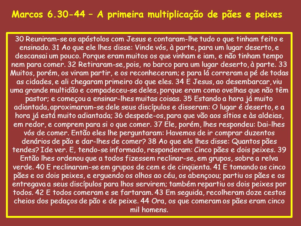 Marcos 6.45-56 O quinto evento é a demonstração do poder do Senhor Jesus sobre a natureza.