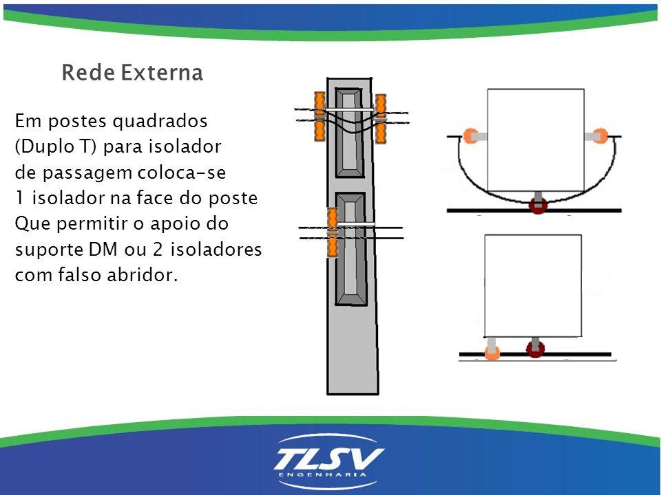 Em postes quadrados (Duplo T) para isolador de passagem coloca-se 1 isolador na face do poste Que permitir o apoio do suporte DM ou 2 isoladores com f