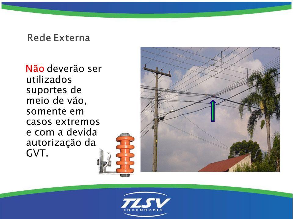 Não deverão ser utilizados suportes de meio de vão, somente em casos extremos e com a devida autorização da GVT. Rede Externa