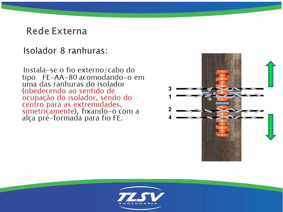 Isolador 8 ranhuras: Instala-se o fio externo/cabo do tipo FE-AA-80 acomodando-o em uma das ranhuras do isolador (obedecendo ao sentido de ocupação do