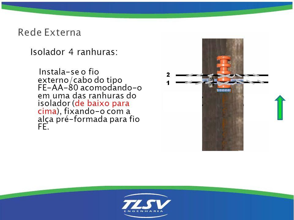 Isolador 4 ranhuras: Instala-se o fio externo/cabo do tipo FE-AA-80 acomodando-o em uma das ranhuras do isolador (de baixo para cima), fixando-o com a