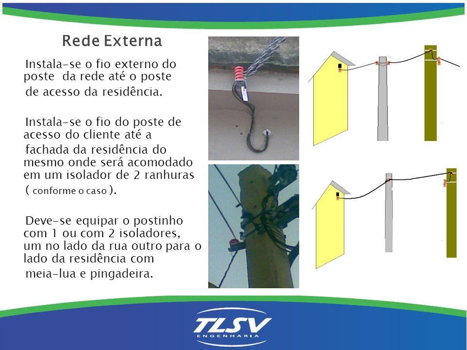 Instala-se o fio externo do poste da rede até o poste de acesso da residência. Instala-se o fio do poste de acesso do cliente até a fachada da residên