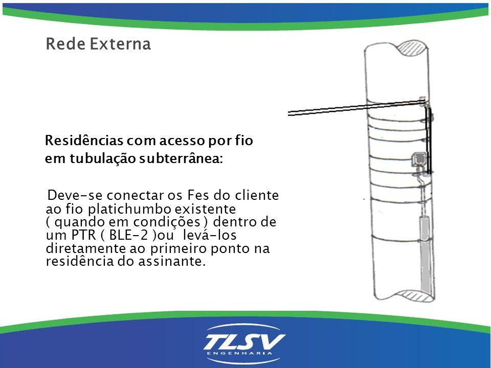 Residências com acesso por fio em tubulação subterrânea: Deve-se conectar os Fes do cliente ao fio platichumbo existente ( quando em condições ) dentr