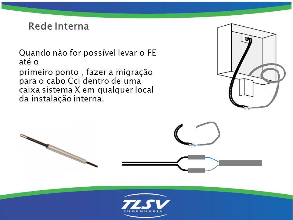 Rede Interna Quando não for possível levar o FE até o primeiro ponto, fazer a migração para o cabo Cci dentro de uma caixa sistema X em qualquer local