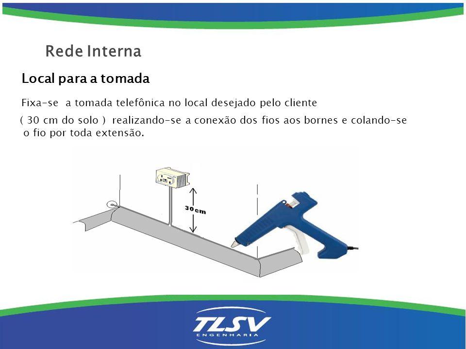 Local para a tomada Fixa-se a tomada telefônica no local desejado pelo cliente ( 30 cm do solo ) realizando-se a conexão dos fios aos bornes e colando