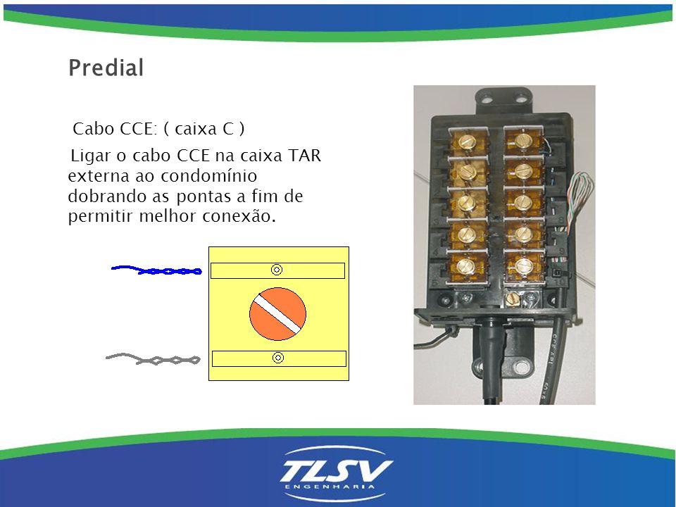 Cabo CCE: ( caixa C ) Ligar o cabo CCE na caixa TAR externa ao condomínio dobrando as pontas a fim de permitir melhor conexão. Predial