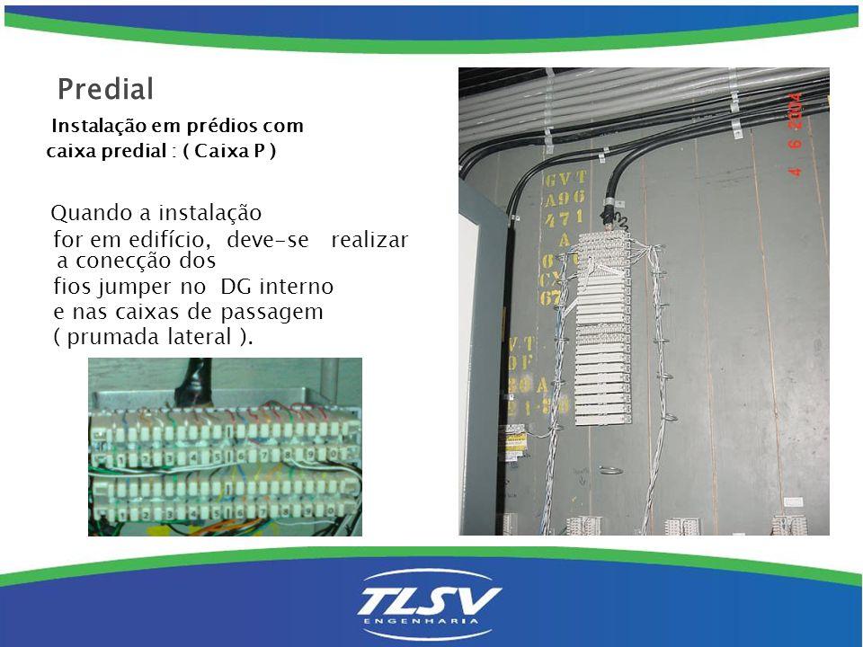 Instalação em prédios com caixa predial : ( Caixa P ) Quando a instalação for em edifício, deve-se realizar a conecção dos fios jumper no DG interno e