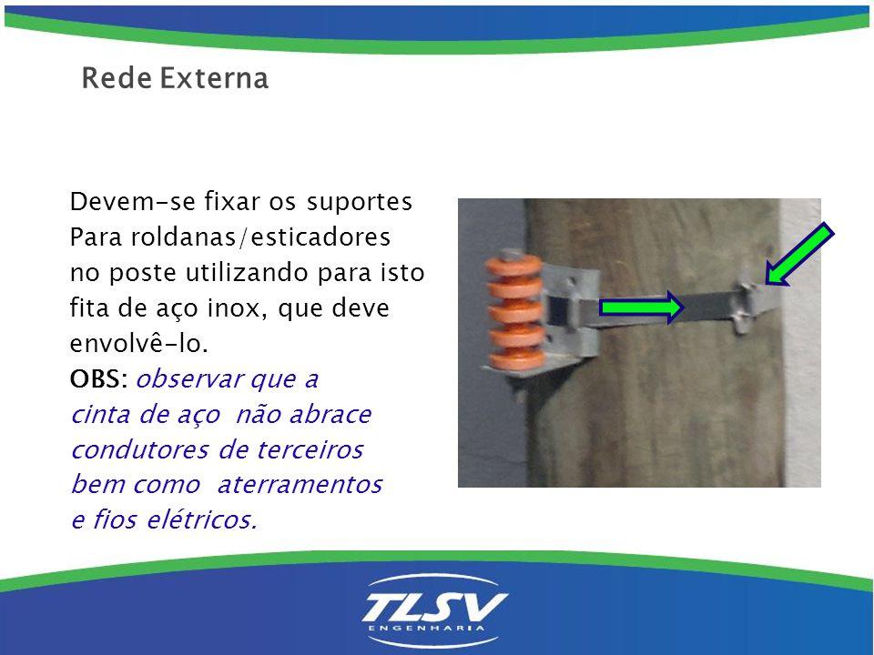 Devem-se fixar os suportes Para roldanas/esticadores no poste utilizando para isto fita de aço inox, que deve envolvê-lo. OBS: observar que a cinta de