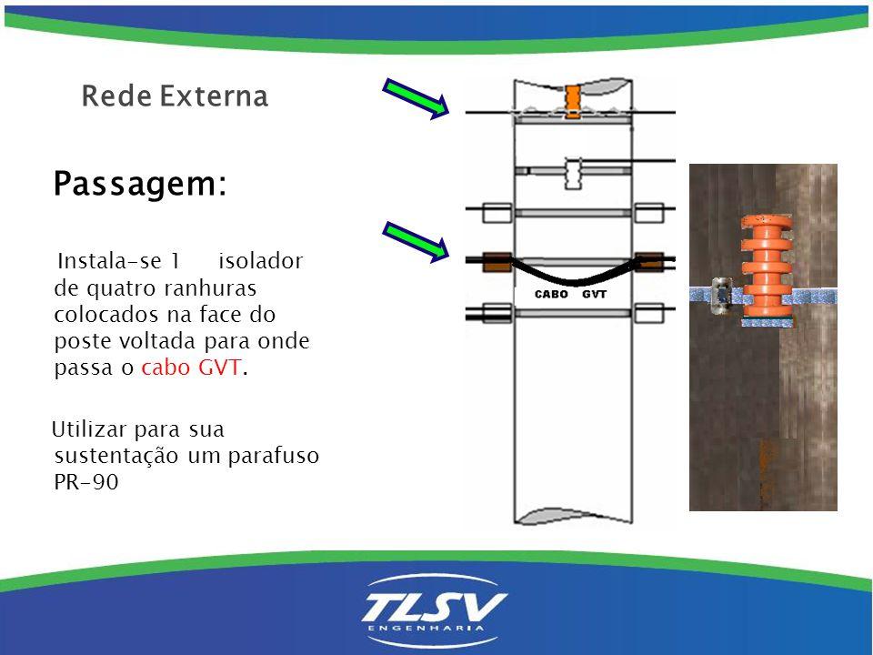 Passagem: Instala-se 1 isolador de quatro ranhuras colocados na face do poste voltada para onde passa o cabo GVT. Utilizar para sua sustentação um par