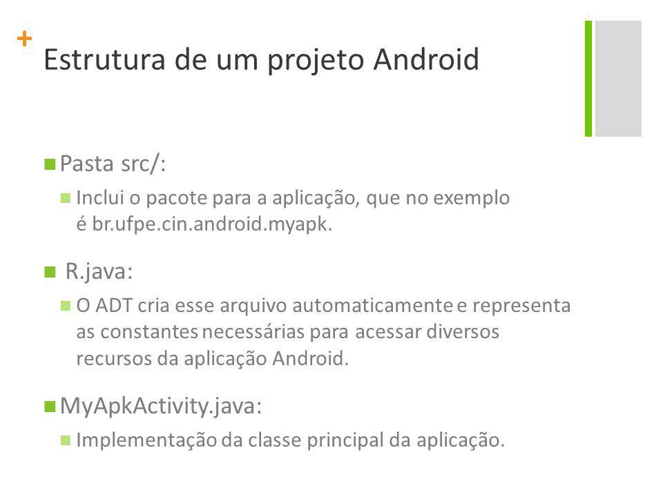 + Pasta src/: Inclui o pacote para a aplicação, que no exemplo é br.ufpe.cin.android.myapk. R.java: O ADT cria esse arquivo automaticamente e represen