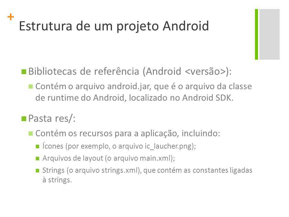 + Estrutura de um projeto Android Bibliotecas de referência (Android ): Contém o arquivo android.jar, que é o arquivo da classe de runtime do Android, localizado no Android SDK.